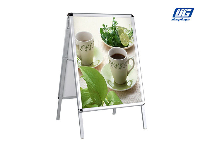 Snap Open Poster Display Stands , Angle Adjustable Poster Stand Black Frame