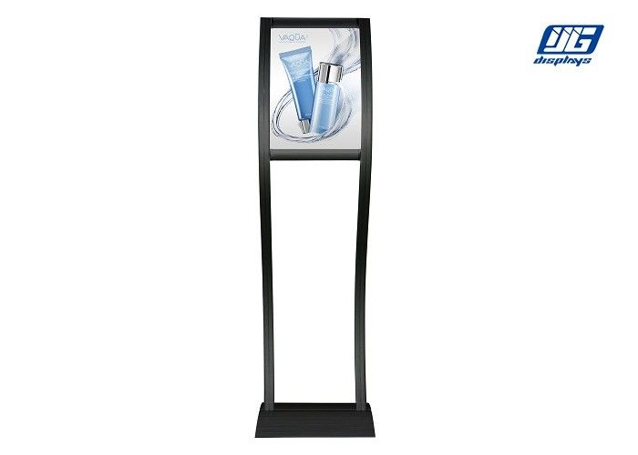 Black Painted Profile Poster Display Stands Curving Double Poles Poster Holder