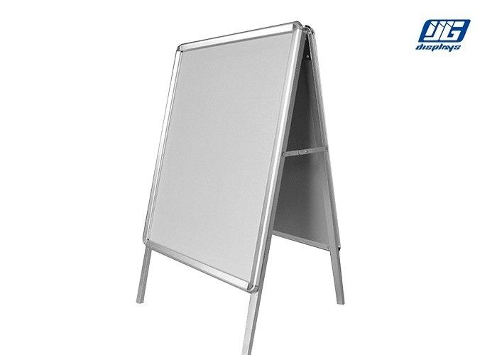 Round Corner Floor Standing Display Stands Silver Smooth Profile Poster Clip Holder